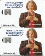 2 Télécartes LE 11 RECEPTION 50 U SC7 - 06/96 Utilisées (Deux Numérotations Différentes) - 1996