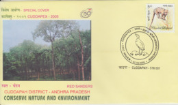 India  2005 Jerdons Courser Cancellation  Red Sanders Trees  Special Cover #  73973  Indien Inde - Songbirds & Tree Dwellers