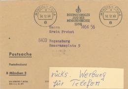 Postsache - München Postscheckamt - 1968 - Internationales Jahr Der Menschenrechte - Rs: Telefonsorgen Tele-Miet-System - BRD