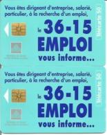 2 Télécartes 3615 EMPLOI 50 U SO3 - 05/96 Utilisées N° 635 (Numérotation Justifiée à Droite Et à Gauche) - 1996