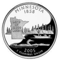 USA. 25 Cents. Quarter. States Of The USA. Minnesota. UNC. 2005 D - 1999-2009: State Quarters