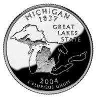 USA. 25 Cents. Quarter. States Of The USA. Michigan. UNC. 2004 D - 1999-2009: State Quarters