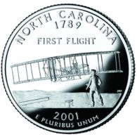 USA. 25 Cents. Quarter. States Of The USA. Northern Carolina. UNC. 2001 D - 1999-2009: State Quarters