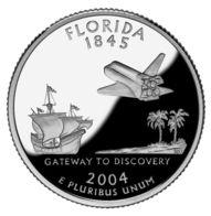 USA. 25 Cents. Quarter. States Of The USA. Florida. UNC. 2004 D - 1999-2009: State Quarters