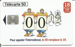 Télécarte NUMEROTATION A 10 CHIFFRES - 19 - 50 U SC7 - 08/96 Utilisée - 1996