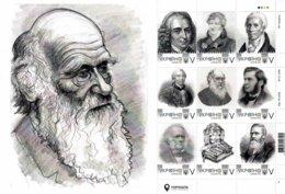 Ukraine 2019, Scientists -Naturalists, Darwin, Wallace, Lyell, Cuvier, Linney, Buffon, Lamarck, Sheet 9v - Ukraine