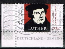 Bund 2017,Michel# 3300 O 500 Jahre Reformation - Martin Luther Eckrand - BRD