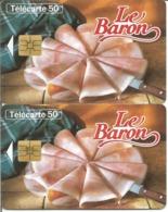 2 Télécartes JAMBON LE BARON 50 U SO3 - 04/96 Utilisées N° 627 (Numérotation Justifiée à Droite Et à Gauche) - 1996