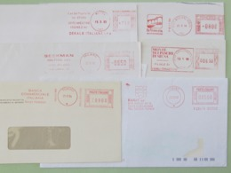 Affrancature Meccaniche ITALIA, 12 Buste Intere (ab), Meter, Ema, Freistempel, 2 Scansioni, Soggetti Vari - Machine Stamps (ATM)