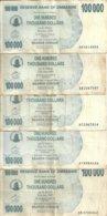 ZIMBABWE 100000  DOLLARS  BEARER CHEQUE 2006 VF P 48 B ( 5 Billets) - Zimbabwe