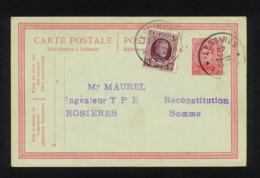 """""""ENTIER CARTE POSTALE COMMERCIALE POUR EXPEDITION DE LESSINES (BELGIQUE) VERS GUILLAUCOURT (FRANCE)""""CACHET DU 22/08/1924 - Postcards [1909-34]"""