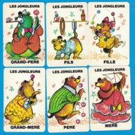 6 CARTES DU JEU DE 7 FAMILLES ANIMAUX DU CIRQUE FAMILLE LES JONGLEURS - Cartes à Jouer Classiques