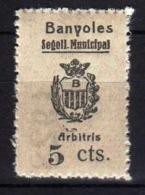 Girostamps54.- SELLO MUNICIPAL DE BANYOLES (GIRONA) SELLO DE 5 CTMOS. DE ARBITRIOS MUNICIPAÑES - Fiscales