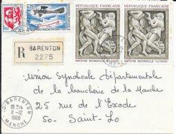 MANCHE 50 - BARENTON  -  CACHET RECETTE R A9 - ARRIVEE ST LO R A9  - SUR L. R. A.R.  - TARIF 1 8 66 L.R. - 1968. - Bolli Manuali