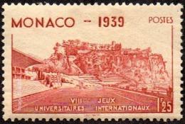 Monaco - N°  198 * Le Rocher Et Stade Louis II - 1f25 Rouge-brique - Monaco