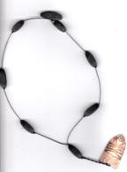 Ancien Collier Africain, Perles ébène, Masque Corne . - Art Africain