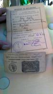 Déclaration De Droit De Bicyclette  Avec Laisser Passer 1942 - Documents