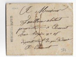 "1840 - GUYANE - LETTRE De CAYENNE Avec SUPERBE MARQUE LINEAIRE ""GUYANE FRANCAISE"" => CLERMONT - Guyane Française (1886-1949)"