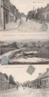 3 CPA:ROISEL (80) RUE DE BAPAUME,VUE PRISE DES FOURS À CHAUX,RUE DU CATELET..ÉCRITES - Roisel