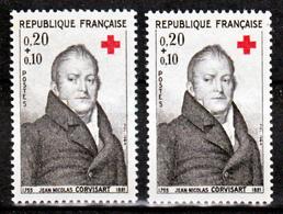 France 1433 1434 Variétés Gomme Tropicale Et Normal Peu Visible Sur Scan Croix Rouge Neuf ** TB MNH Sin Charnela - Variedades Y Curiosidades