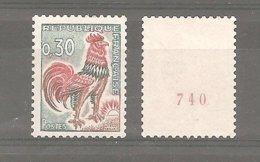 Coq DECARIS - Roulettes  N°1331A** 30 C. Vert, Rouge Et Bistre. GB. 1 Timbre Sans Numéro + 1 Timbre Avec Numéro Rouge. - 1962-65 Hahn (Decaris)