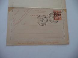 Lettre Entier Colonies Françaises Chine China Carte Lettre Type Mouchon Surchargé - Chine (1894-1922)