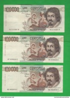 100000 100.000 Lire Caravaggio 1° Tipo Lotto 3 Banconote 1990 - 1992 - 1993 - [ 2] 1946-… : Republiek