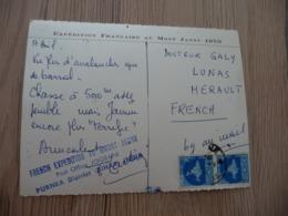 CPSM Inde Himalya Expédition Française Au Mont Jannu 1959 Cachet Lignes Bleus French Expedition Purnea District - India