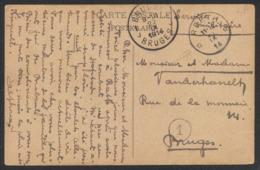 """CP Vue En Service Militaire Obl Relais """"Reeth"""" (1914) Vers Bruges / Guerre 14-18. - Poststempel"""