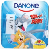 "Opercule Cover Yaourt Yogurt "" Danone "" Tom & Jerry 5 French Disney Banane  Banana  Yoghurt Yoghourt Yahourt Yogourt - Opercules De Lait"