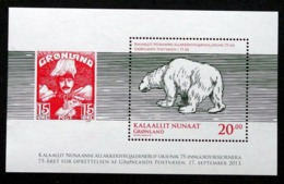 Greenland 2013   75th Anniversary Greenland Post (Polar Bear)   Minr.647A  BLOCK 63A   MNH  ( ** ) ( Lot  Mappe  ) - Unused Stamps