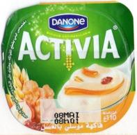 "Opercule Cover Yaourt Yogurt "" Danone "" ACTIVIA Miel Honey Fruits Yoghurt Yoghourt Yahourt Yogourt - Opercules De Lait"