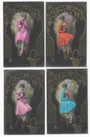 Fantaisie Lot  6 CPA Femme Avec Un Bouquet De Fleurs Sur Un Escabeau Edition P.C. Paris N° 3038 - Cartes Postales