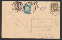 """CP Vue Expédié D'Elsenborn (1936) Vers Linth , Taxée à 30ctm + Obl Relais """"Linth"""" / Relais Taxé. - Cachets à étoiles"""