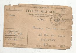 Carte Circulant En Franchise ,SERVICE MILITAIRE , N° 1048 ,CAMBRAI PPAL. , NORD ,1966 ,2 Scans - Tarjetas De Franquicia Militare