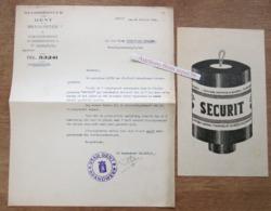 """2 Papieren """"Brandweer Gent Aan Firma Cocquyt-De Ceulener 1943"""" - Verzamelingen"""