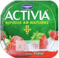 """Opercule Cover Yaourt Yogurt """" Danone """" ACTIVIA Fraise Strawberry Yoghurt Yoghourt Yahourt Yogourt - Milk Tops (Milk Lids)"""