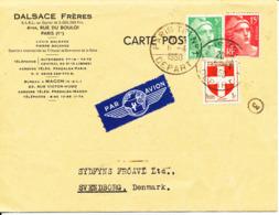 France Carte Postale Sent To Denmark Paris 6-4-1950 - France