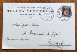 SCARLINO SCALO TENUTA VETRICELLA  AMM.VIGNALI  CARTOLINA  AUTOGRAFA Con AMBULANTE LIVORNO-ROMA -(9)-9/2/35 - Pubblicitari