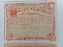 The MONT De PIETE Of ENGLAND   1889       LONDON - Azioni & Titoli