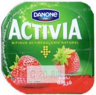 "Opercule Cover Yaourt Yogurt "" Danone "" ACTIVIA Fraise Strawberry Yoghurt Yoghourt Yahourt Yogourt - Koffiemelk-bekertjes"