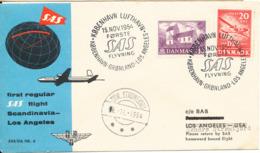 Denmark First SAS Flight Over The Pole Copenhagen - Greenland - Los Angles 15-11-1954 - Denmark