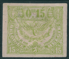 TR101 (*) Proef Van De Plaat - Geelgroen Op Gewoon Wit Papier - Ongetand - Proofs & Reprints