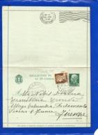 ##(DAN199)-Italia 1937-Biglietto Postale Cent.25 Da Città Di Castello, Frazionaro 46-56 Per Firenze - 1900-44 Vittorio Emanuele III