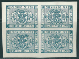 TR5 In Blok Van 4 (*) Herdruk In Donker Blauw Op Gewoon Wit Papier - Ongetand - Essais & Réimpressions