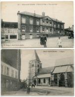 2 CP * BRAY Sur SOMME L'Hôtel De Ville ( Restaurant Café De La Musique Rue Animée) & L'Eglise - Bray Sur Somme