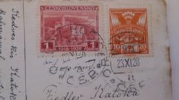 D168182  Czechoslovakia  Postcard  Zum Namenstage   TPO -Railway Post -BAHNPOST - Orlov-Kosice   1928 - Briefe U. Dokumente