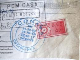 TIMBRE FISCAL AFRIQUE MAROC 1994 CASABLANCA MARRAKECH CREDIT DU MAROC AVIS DE DEBIT TAXE - Maroc (1956-...)
