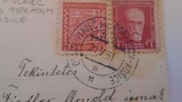 D168187 Czechoslovakia  Postcard   -Flowers - TPO -Railway Post - Orlov-Plaveč Nad Popradom-Kosice Ca 1931 - Briefe U. Dokumente