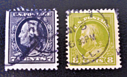 GEORGE WASHINGTON 1908/12  - OBLITERES - YT 173 + 184 (DENTELE10) - Used Stamps